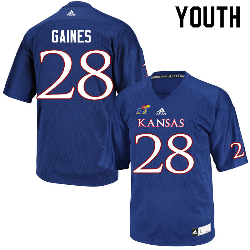 Youth #28 Maurice Gaines Kansas Jayhawks College Football Jerseys Sale-Royal